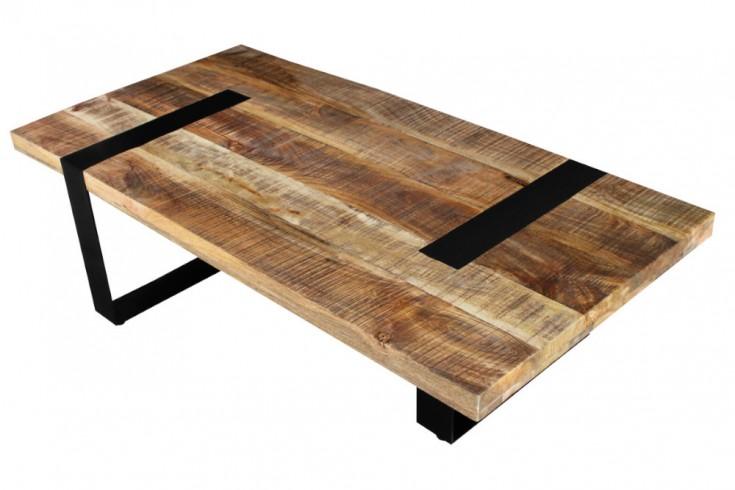 Industrial Couchtisch IRON CRAFT 120cm Mangoholz mit schwarzen Beinen