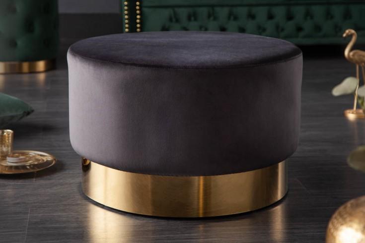 Eleganter Hocker MODERN BAROCK 55cm Samt schwarz gold Couchtisch