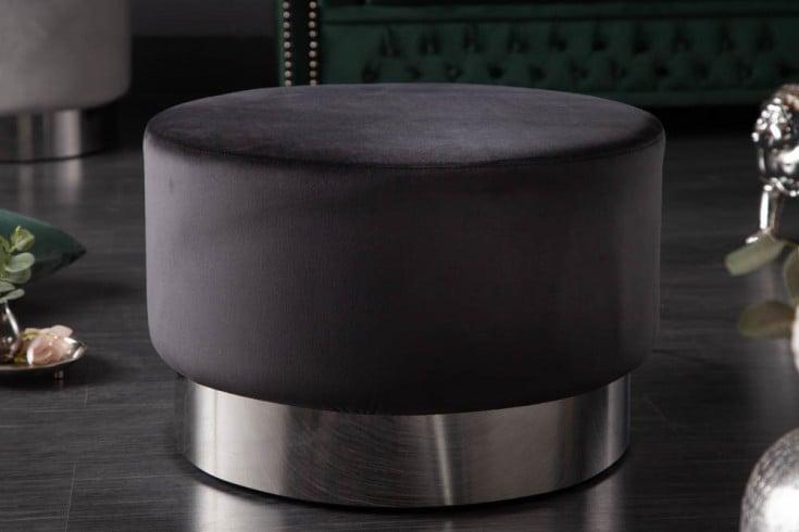 Eleganter Hocker MODERN BAROCK 55cm Samt schwarz silber Couchtisch