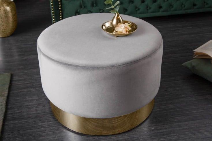 Eleganter Hocker MODERN BAROCK 55cm Samt silber gold Couchtisch