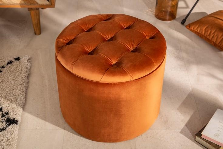 Eleganter Hocker MODERN BAROCK 50cm orange-bronze Samt Aufbewahrungkorb