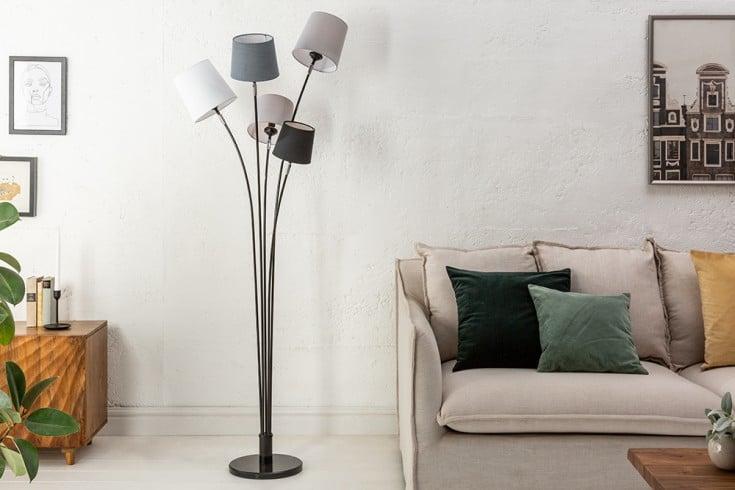 Design Stehlampe LEVELS 176cm schwarz grau mit 5 Leinenschirmen