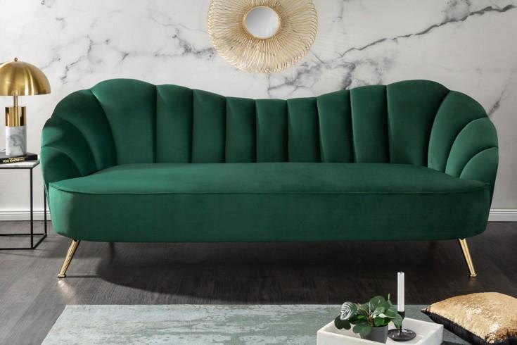 Retro 3er Sofa ARIELLE 220cm flaschengrün Samt 3-Sitzer mit Ziersteppung