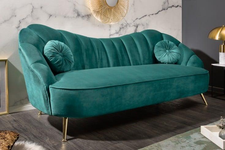 Retro 3er Sofa ARIELLE 220cm aqua Samt 3-Sitzer mit Ziersteppung