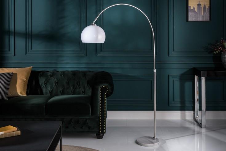 Höhenverstellbare Bogenlampe LOUNGE DEAL 137-157cm weiß Stehlampe mit Marmorfuß