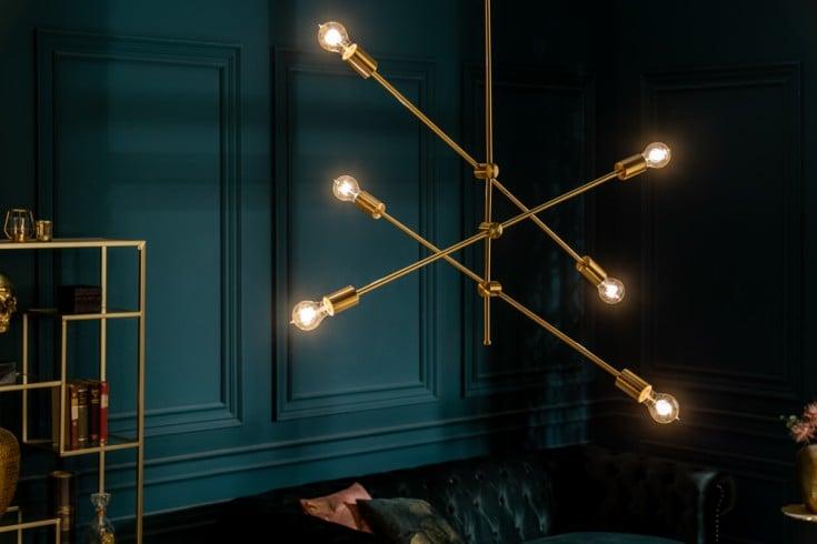 Elegante Hängelampe VARIATION 128cm gold mit sechs schwenkbaren Leuchten