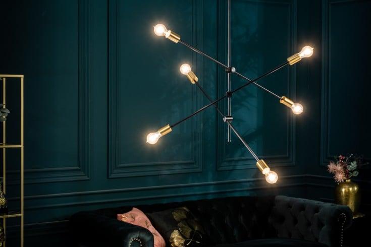 Elegante Hängelampe VARIATION 128cm schwarz gold mit sechs schwenkbaren Leuchten