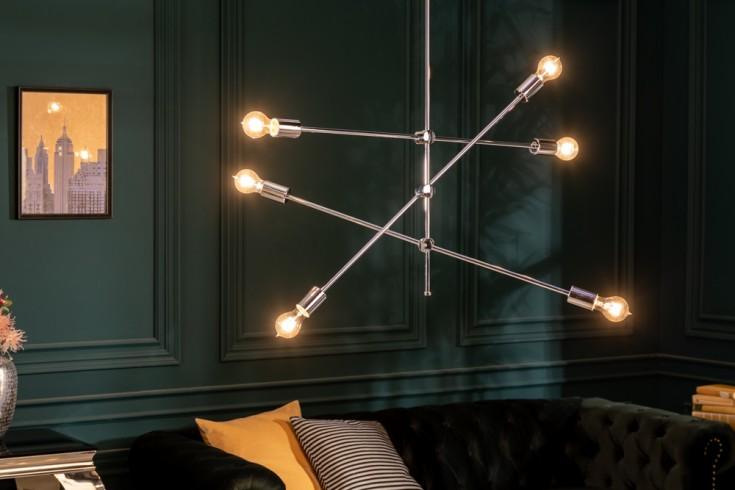 Elegante Hängelampe VARIATION 128cm silber mit sechs schwenkbaren Leuchten
