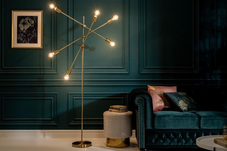 Elegante Stehlampe VARIATION 193cm gold mit sechs schwenkbaren Leuchten