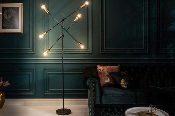Elegante Stehlampe VARIATION 193cm schwarz gold mit sechs schwenkbaren Leuchten