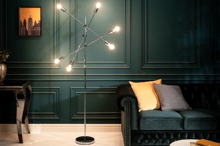 Elegante Stehlampe VARIATION 193cm silber mit sechs schwenkbaren Leuchten
