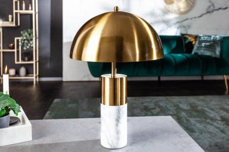 Elegante Tischlampe BURLESQUE 52cm gold weiß mit Marmorfuß
