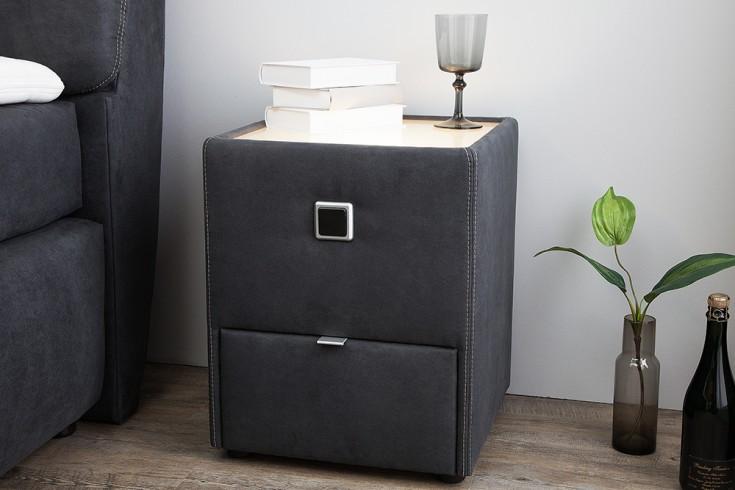 Moderner Nachttisch GENESIS 43cm anthrazit mit Schublade indirekte Beleuchtung