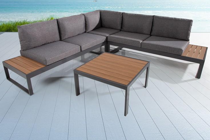 Große Garten Sitzgruppe PALM BEACH LOUNGE 247cm schwarz grau Gartenmöbel inkl. Tisch und Kissen