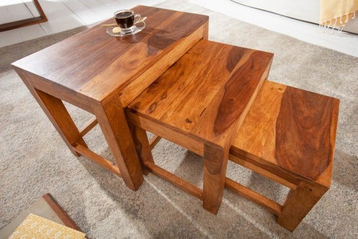 Handgefertigte Beistelltische 3er Set MONSOON 45cm Sheesham Holz