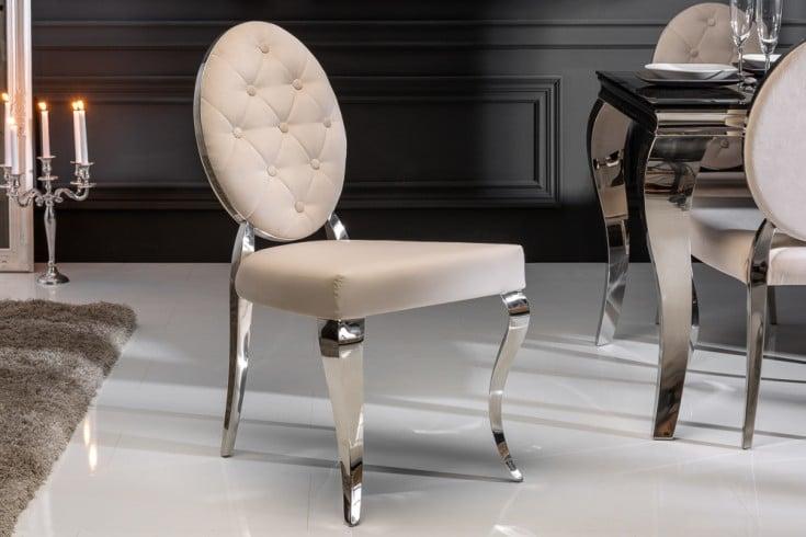 Eleganter Stuhl MODERN BAROCK beige Samt mit Knöpfen Edelstahlbeine