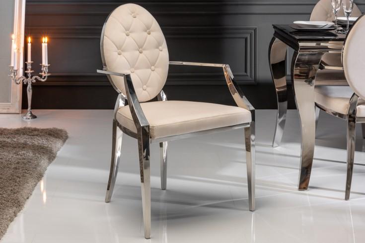 Eleganter Stuhl MODERN BAROCK beige Samt mit Armlehnen und Zierknöpfen