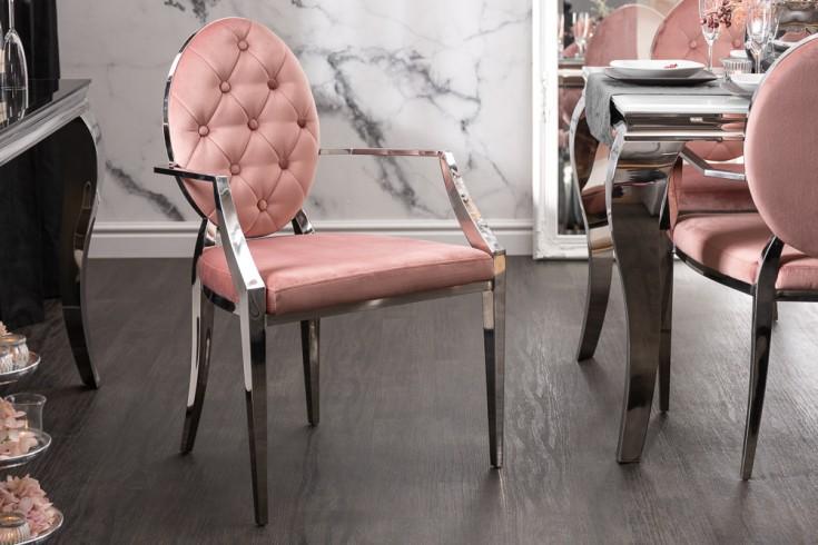 Eleganter Stuhl MODERN BAROCK altrosa Samt mit Armlehnen und Zierknöpfen