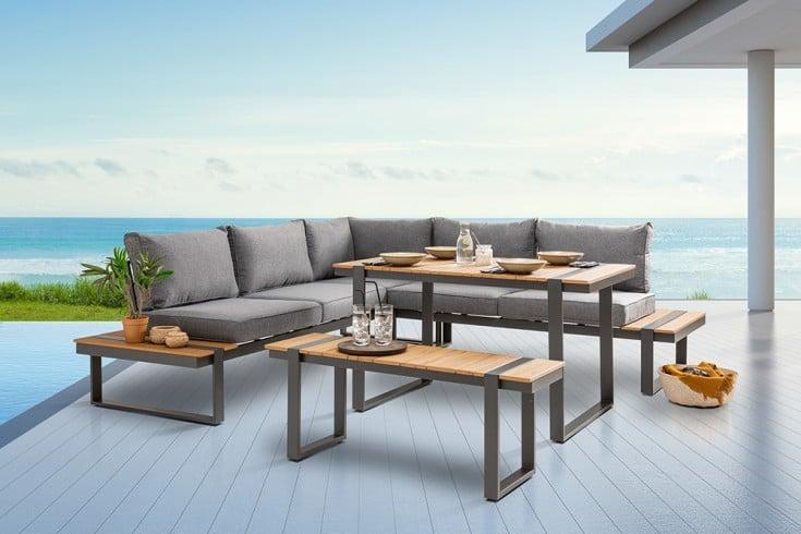 Moderne Garten Sitzgruppe TAMPA LOUNGE 240cm inkl. Bank und Tisch
