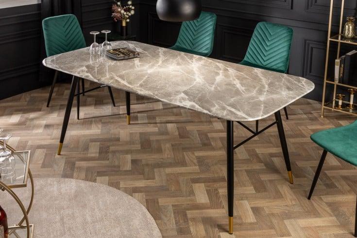 Design Esstisch PARIS 180cm grau Glastisch Marmor-Optik