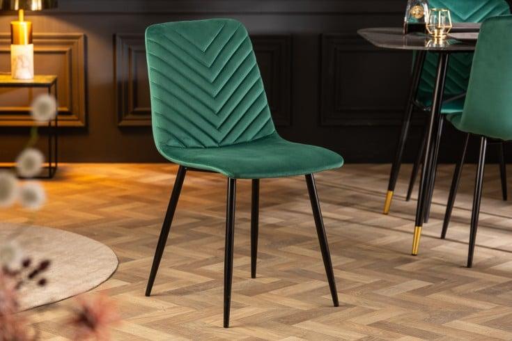 Design Stuhl AMAZONAS Samt grün mit Ziersteppung