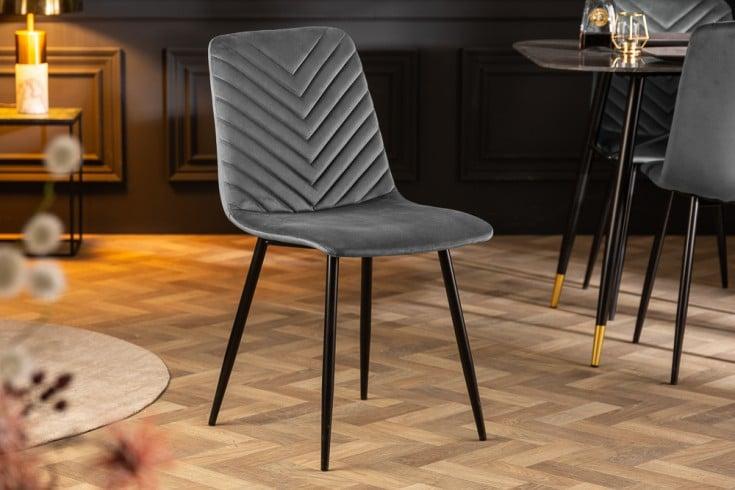 Design Stuhl AMAZONAS Samt grau mit Ziersteppung