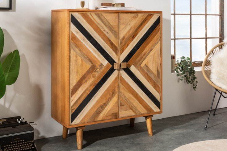 Massives Highboard LONG ISLAND 100cm Mangoholz mit aufwendiger Front
