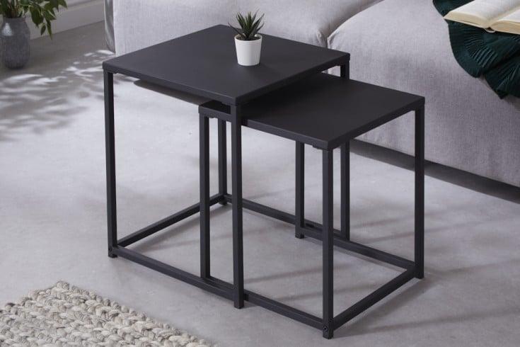 Industrial Beistelltische 2er Set DURA STEEL 40cm schwarz Metall