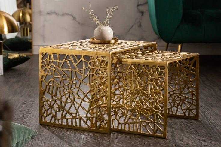 Handgearbeiteter Couchtisch ABSTRACT 50cm 2er Set gold im Gap Design