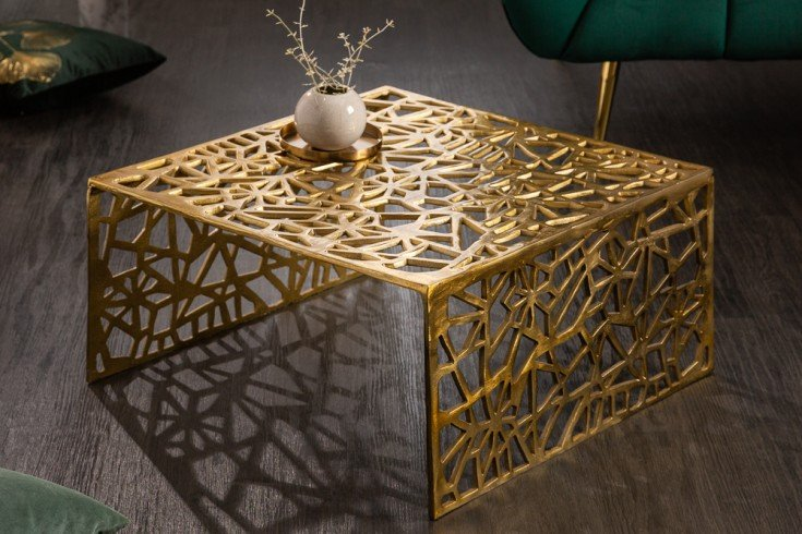 Handgearbeiteter Couchtisch ABSTRACT 60cm Alu gold im Gap Design