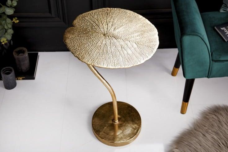 Handgearbeiteter Beistelltisch LEAF 40cm gold im filigranen Blatt Design