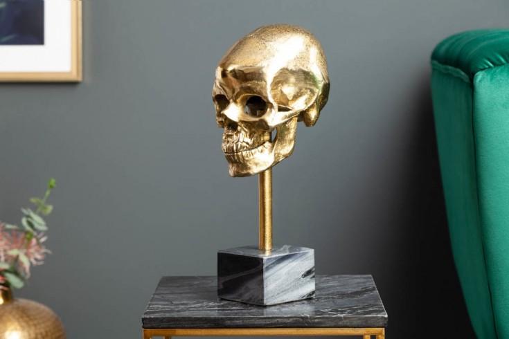 Elegante Skulptur SKULL 35cm gold Totenkopf mit Marmorfuß