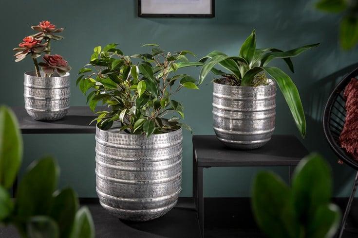 Edles 3er Set Blumen Übertopf ORIENT silber Vasen im Hammerschlagdesign