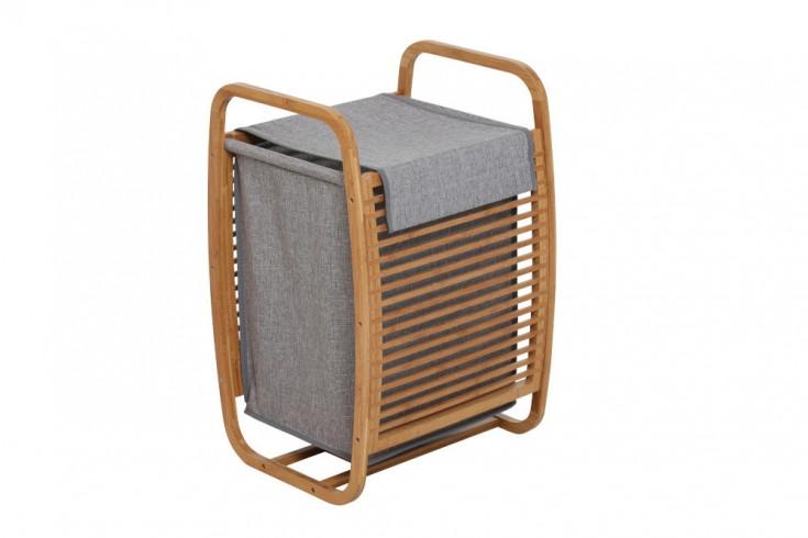 Design Wäschekorb LAGOON SPA 61cm grau Bambusholz Wäschesammler
