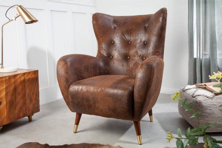 Eleganter Sessel DON antik braun mit Federkern goldene Fußkappen