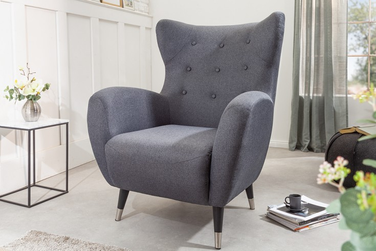 Eleganter Sessel DON anthrazit mit Federkern silberne Fußkappen