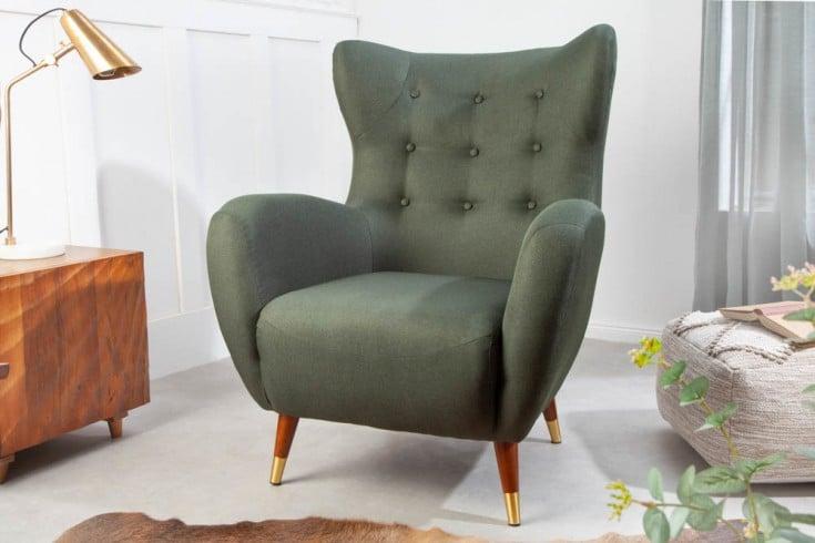 Eleganter Sessel DON flaschengrün mit Federkern goldene Fußkappen