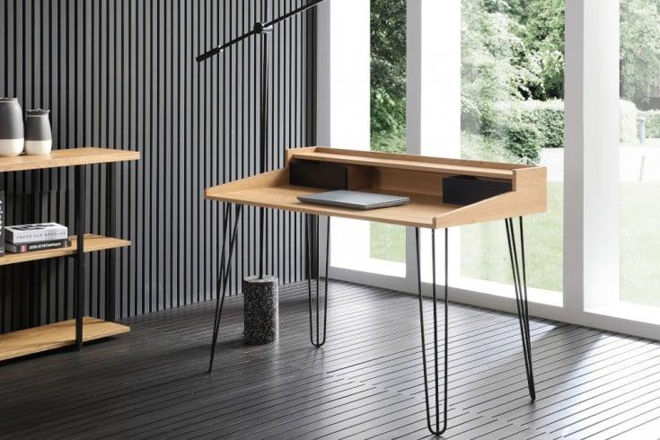Industrial Schreibtisch STUDIO 110cm Eichenoptik Laptoptisch mit Hairpin Legs