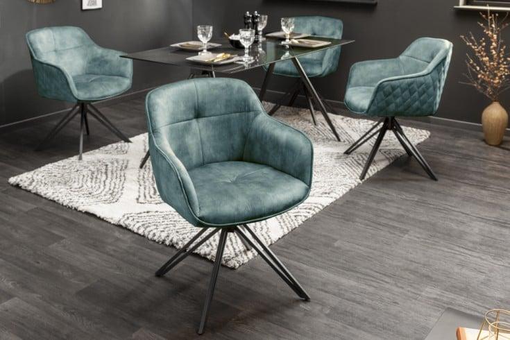 Drehbarer Design Stuhl EUPHORIA petrol Samt im Retrostil mit Ziersteppung