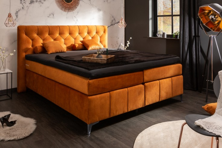Elegantes Boxspringbett EUPHORIA 180x200cm orange Samt inkl. Matratze und Topper