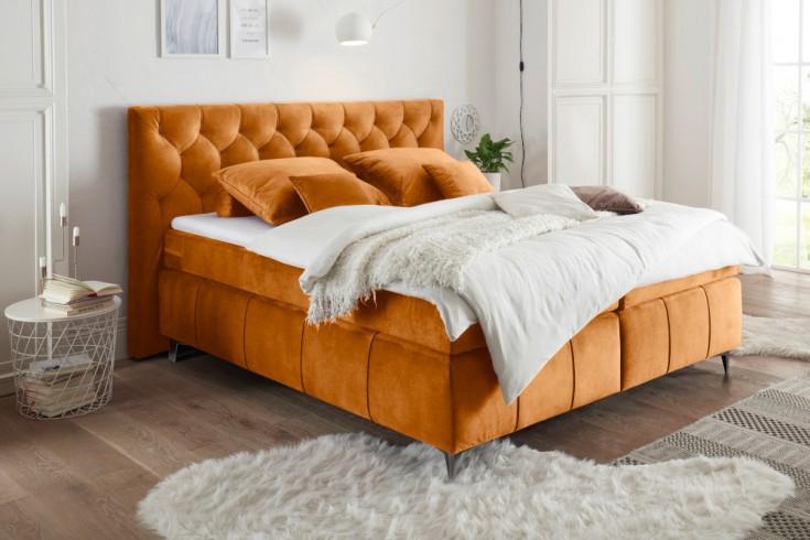 Elegantes Boxspringbett EUPHORIA 180x200cm orange inkl. Matratze und Topper