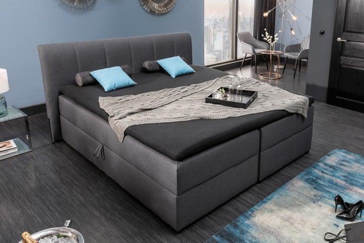 Modernes Boxbett MARSEILLE 180x200cm anthrazit inkl. Matratze und Topper mit Bettkasten