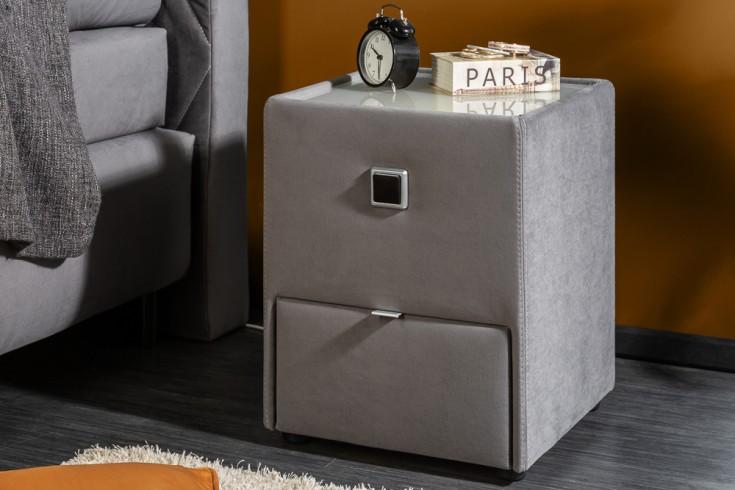 Moderner Nachttisch VERONA 43cm grau Samt mit Schublade indirekte Beleuchtung