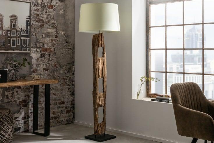 Massive Stehlampe BARRACUDA 177cm Eisenholz mit weißem Baumwollschirm