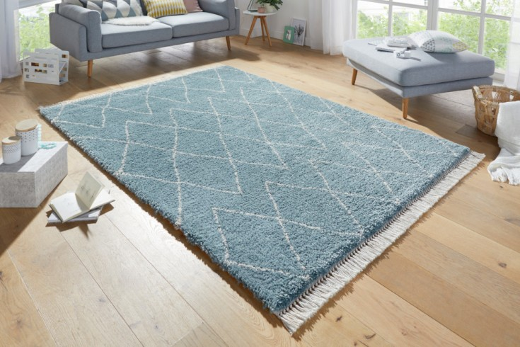 Scandinavian Hochflor Teppich EUPHORIA 230x160cm blau beige Rautenmuster