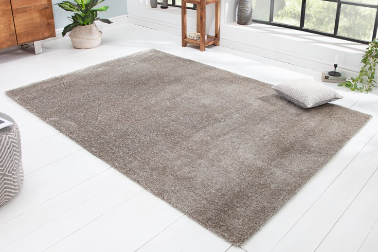 Moderner Hochflor Teppich PURE UNIQUE 230x160cm silber grau