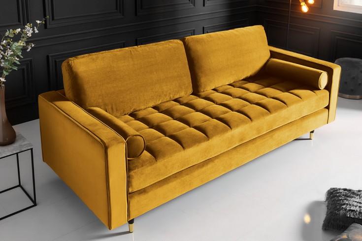 Elegantes Design 3er Sofa COZY VELVET 225cm senfgelb Samt Federkern
