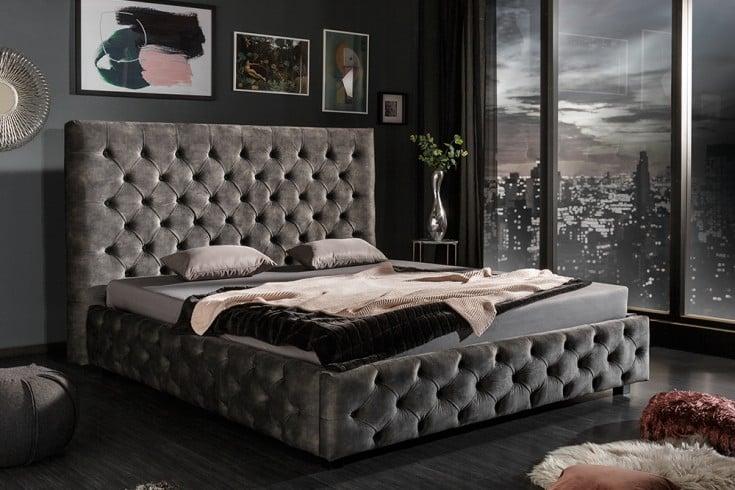 Elegantes Doppelbett PARIS 180x200cm antik-grün Samt Chesterfield Design
