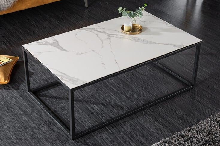 Design Couchtisch SYMBIOSE 100cm weiß Keramik in Marmor-Optik