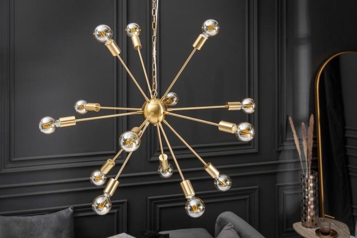 Elegante Hängelampe SPUTNIK 87cm gold mit 14 Leuchtarmen
